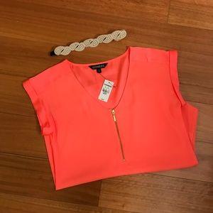 Bright peach short sleeve shirt